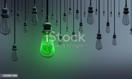 A Light Bulb includes tree between the others on dark background. Can be used ecology, energy, leadership, innovation and individuality concepts.  (3d render)