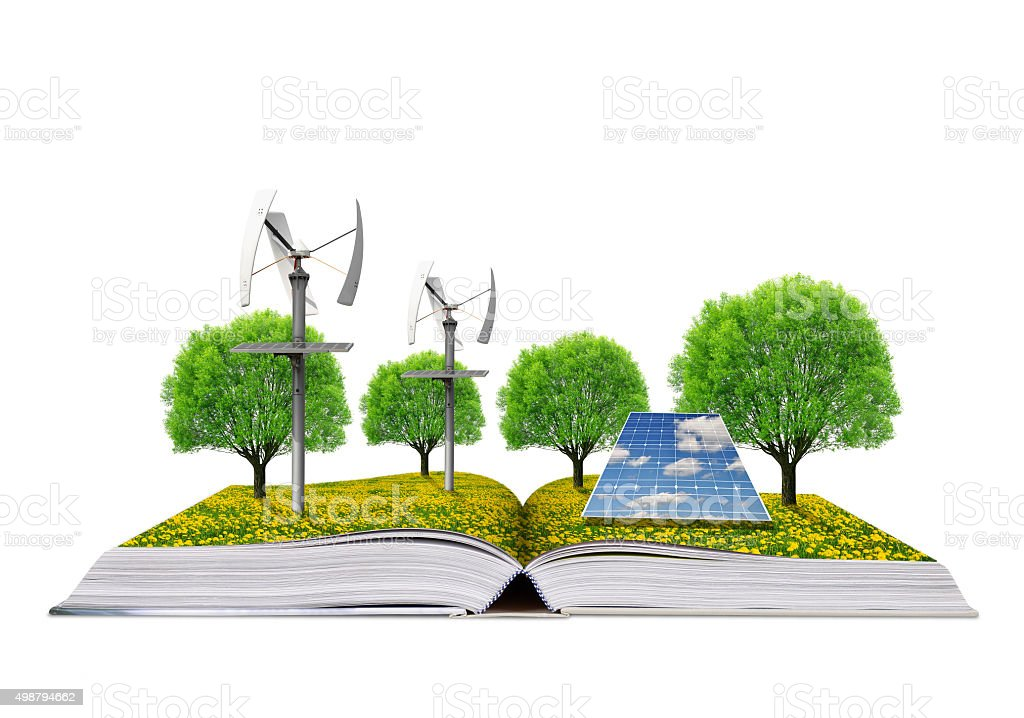 Ecological book with solar panel and wind turbines. stock photo