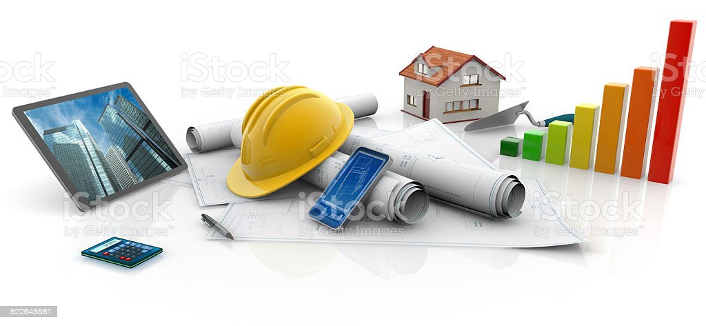 ecological constructions stock photo