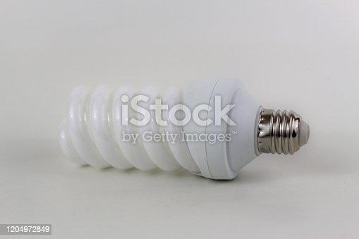Ecological economical lamp isolate on white background