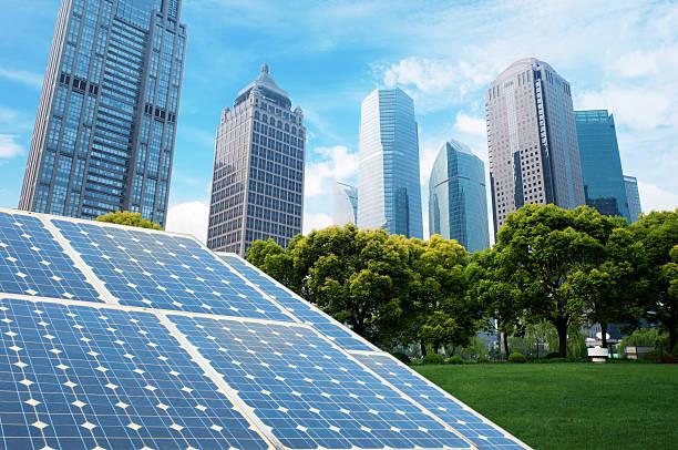Ökologische erneuerbare Energie solar panel-plant – Foto
