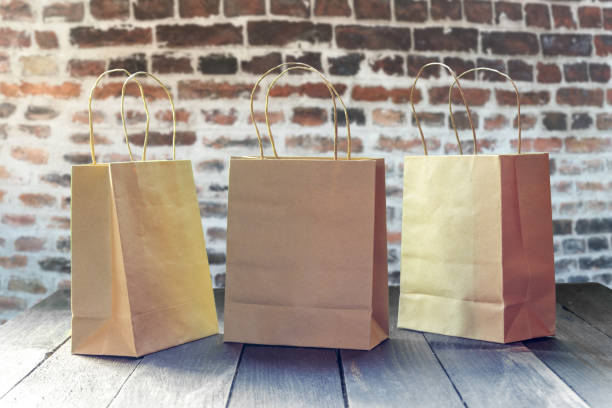 Ecological paper shopping bags stock photo