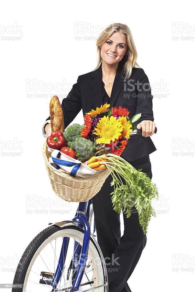 Ecological Transportation: Woman Bicycling for Work, Grocery Shopping, White Background royalty-free stock photo