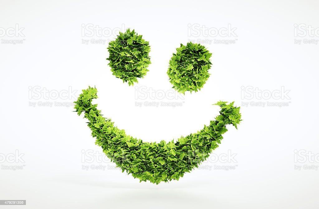 Ecology 3d render smile face sign stock photo