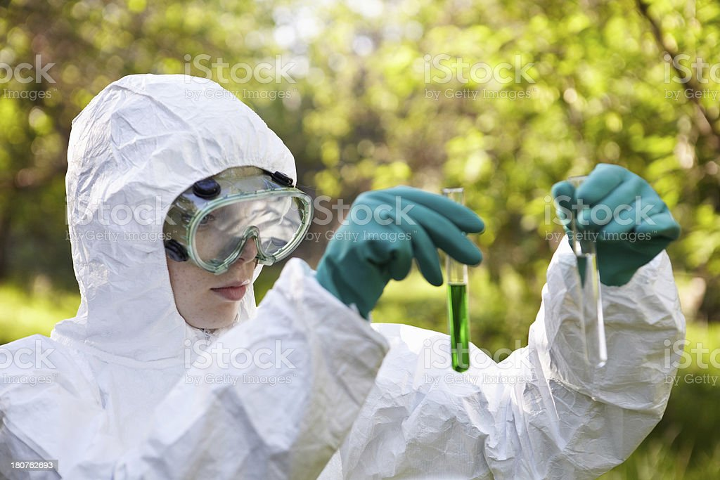 Ecology and environmental pollution. Water testing. stock photo