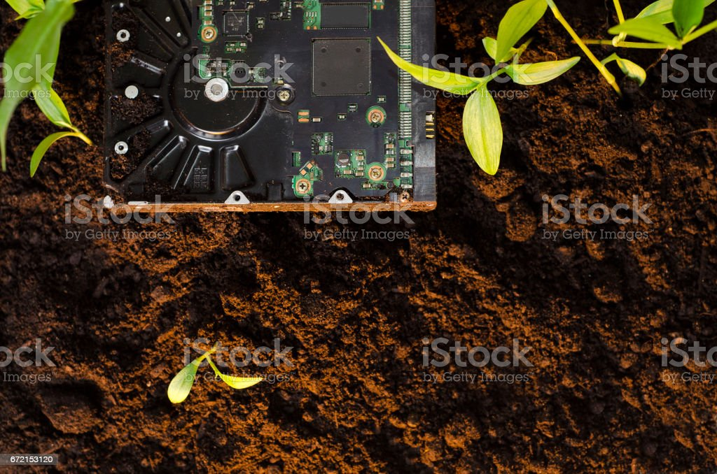 Ecology and technology concept stock photo