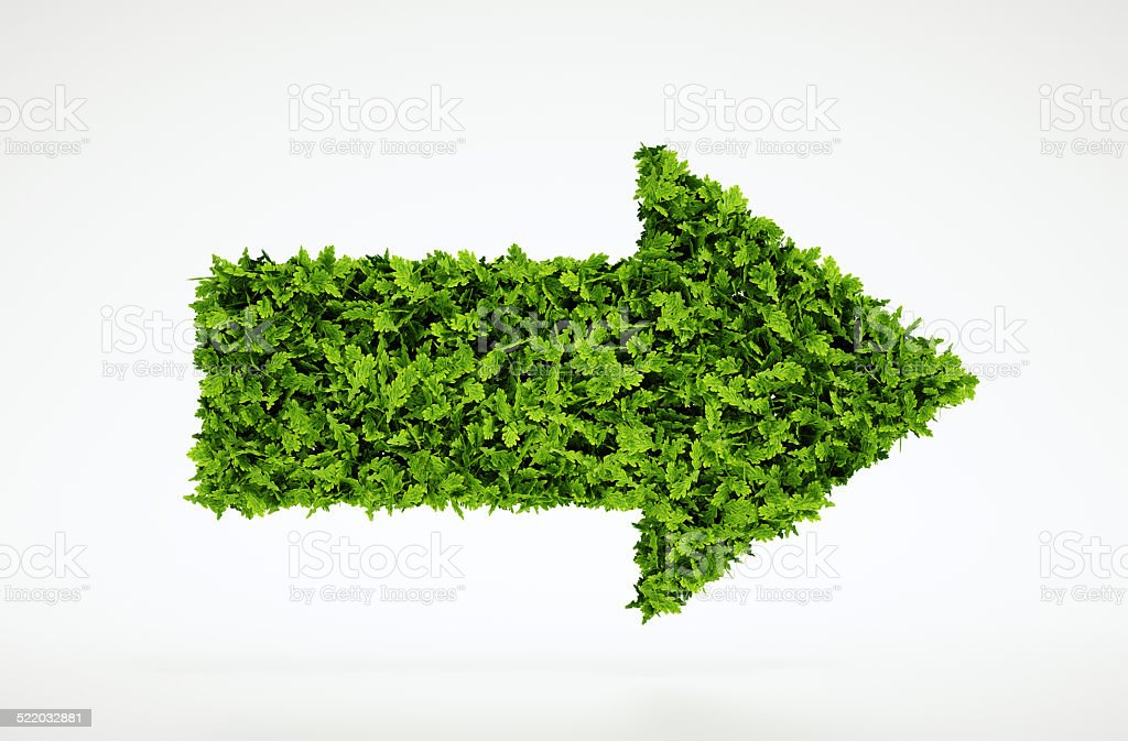 Ecology arrow symbol stock photo