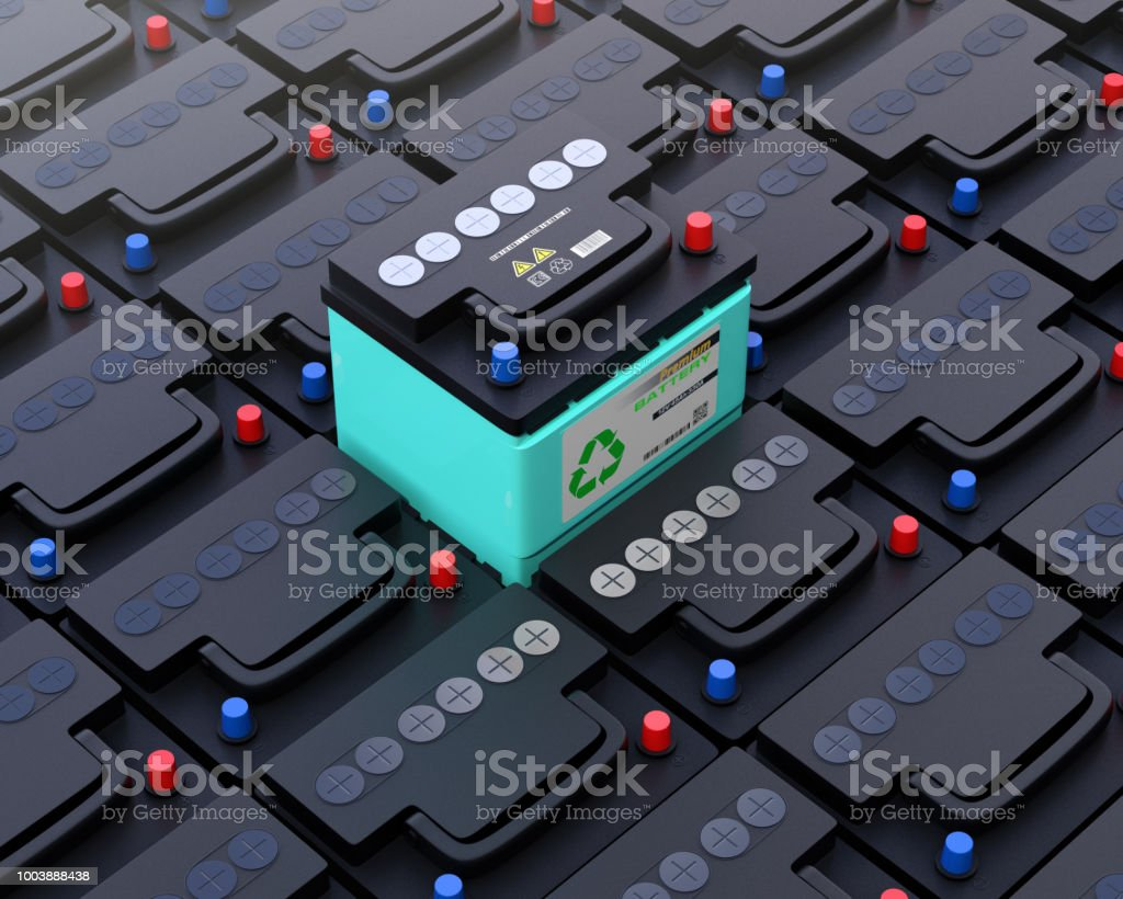 Ecology car battery pop up from other normal battery. stock photo