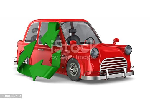ecology car on white background. Isolated 3D illustration