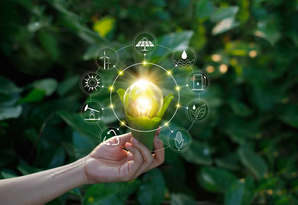 ecology concept. hand holding light bulb against nature on green leaf with icons energy sources for renewable, sustainable development, save energy. - energia rinnovabile foto e immagini stock