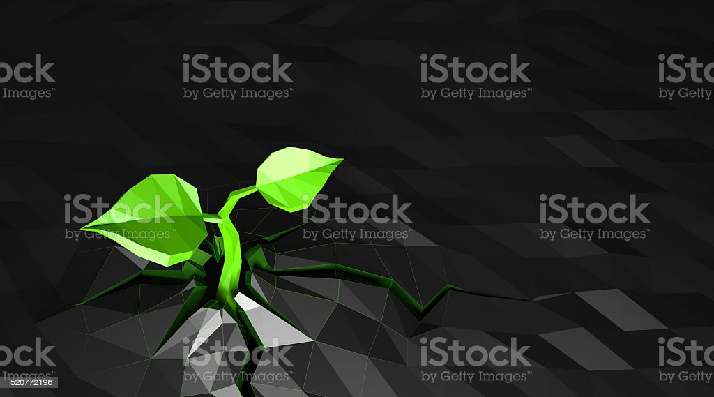 Ecology concept Sprout has grows through the asphalt, low poly stock photo