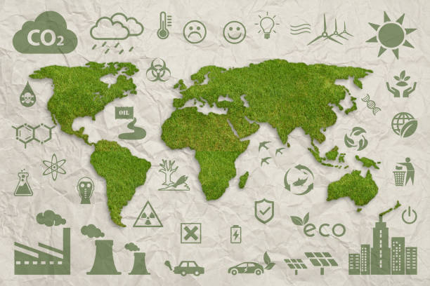 ecology concept: sustainable world. green grass world map above paper. - recycling symbol stock photos and pictures