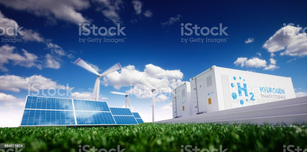 Ecology energy solution. Power to gas concept. stock photo