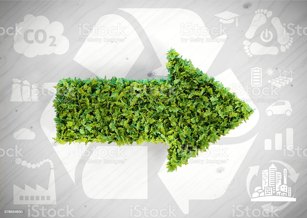Ecology green arrow stock photo
