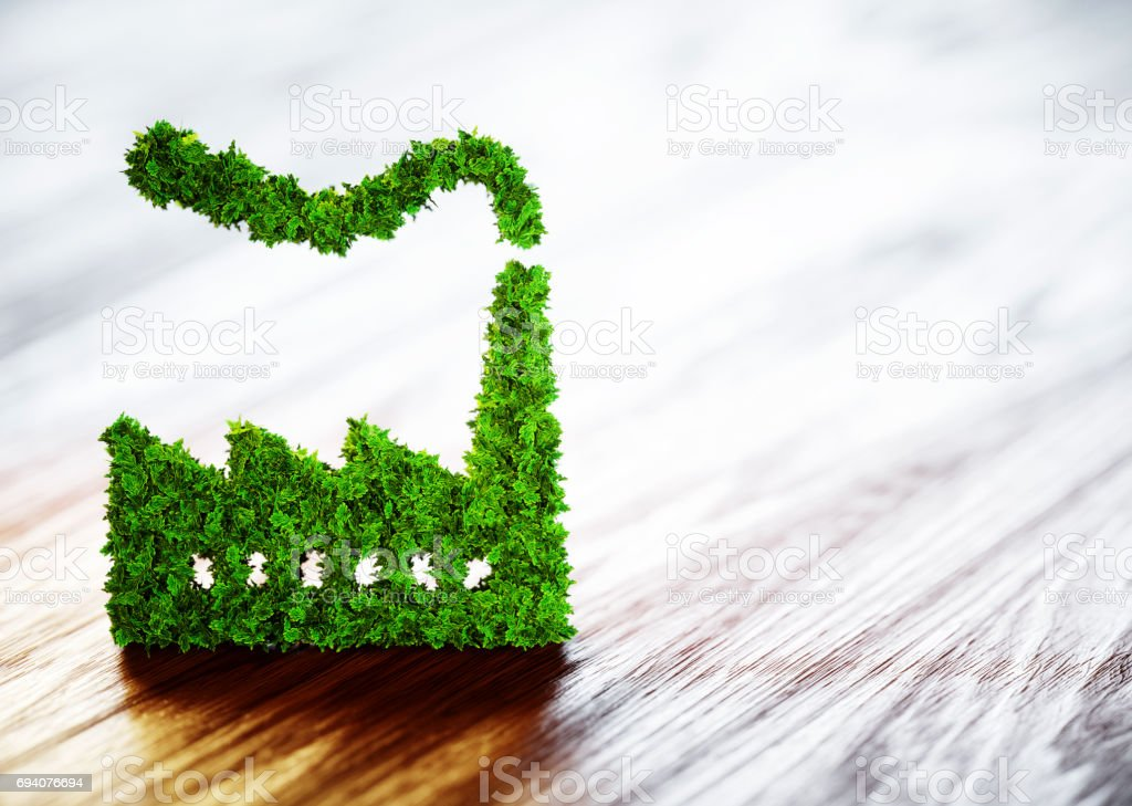 Ecology industry concept. 3D illustration on wooden background. stock photo