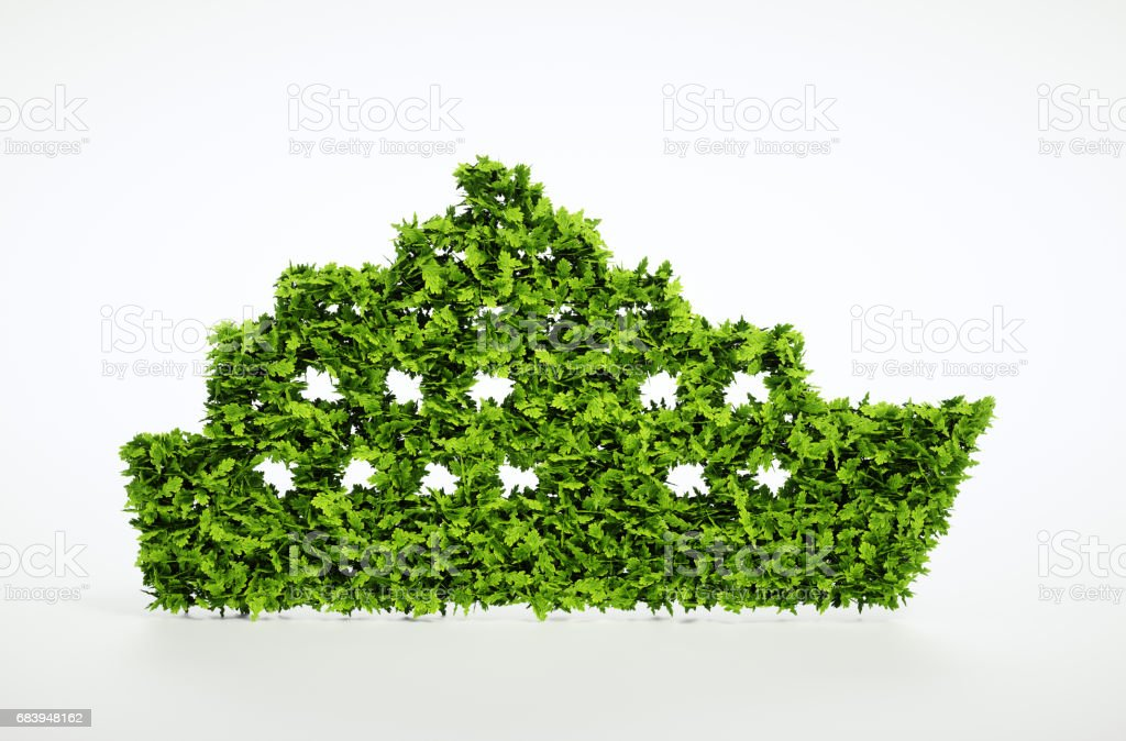 Ecology ship concept. 3D illustration of a green ship isolated on white. stock photo
