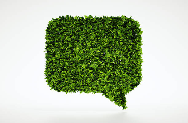 Ecology talking bubble symbol Isolated 3d render natural leaf talk symbol with white background tree hugging stock pictures, royalty-free photos & images