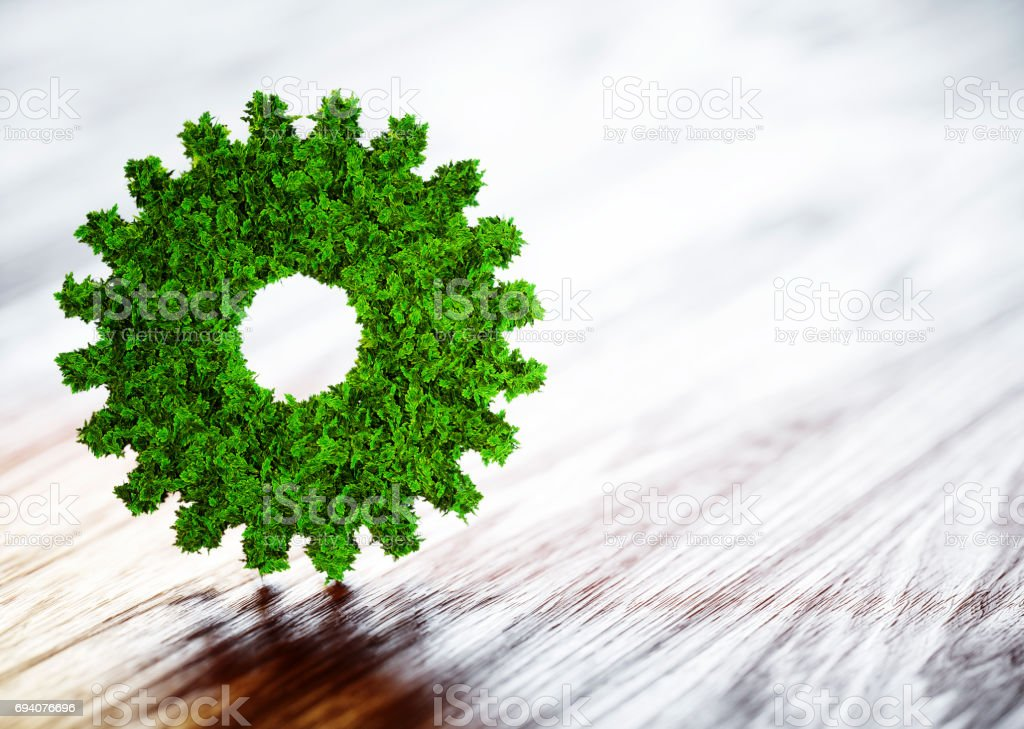 Ecology technology concept. 3D illustration on wooden background. stock photo