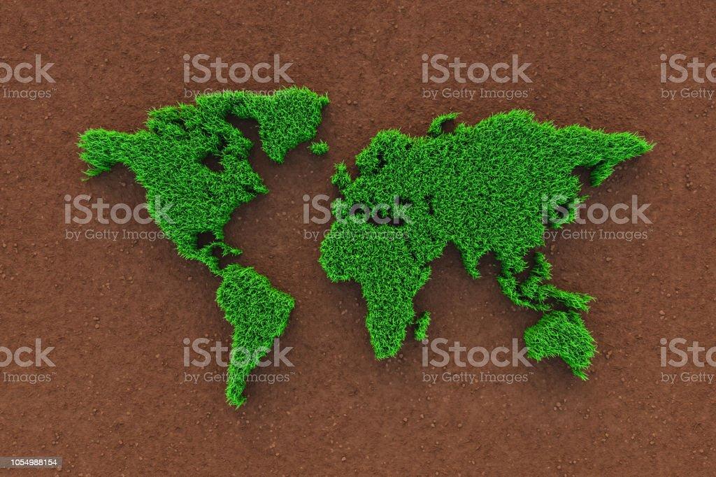 Ecology world map stock photo