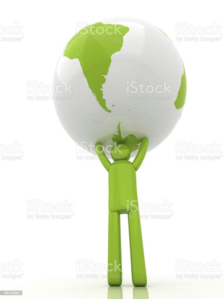 Ecoman holding Earth   Eco-man Series royalty-free stock photo