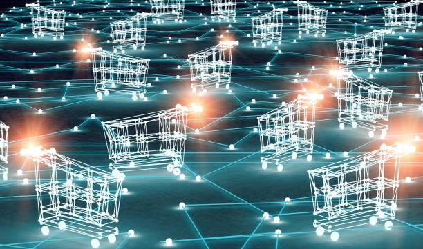 E-commerce and e-shopping concept.3d illustration stock photo