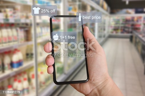 istock E-commerce augmented reality marketing in supermarket mobile phone app AI artificial intelligence 1128491275