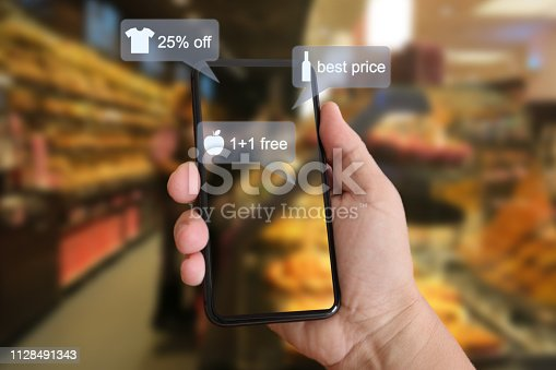 istock E-commerce augmented reality marketing in supermarket mobile phone app AI artificial intelligence 1128491343