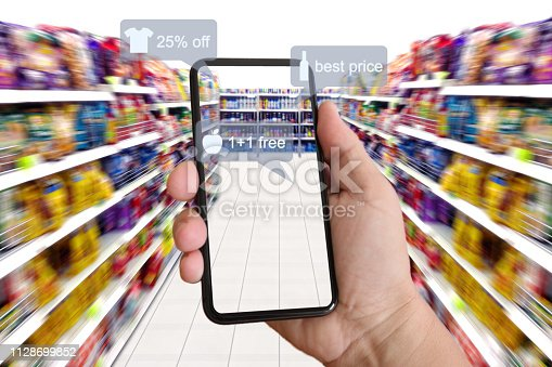 istock E-commerce augmented reality marketing in supermarket mobile phone app AI artificial intelligence 1128699852