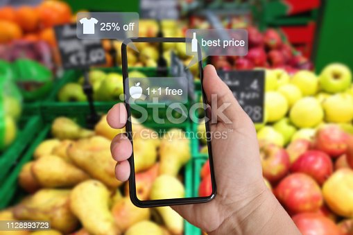 istock E-commerce augmented reality marketing in supermarket mobile phone app AI artificial intelligence 1128893723