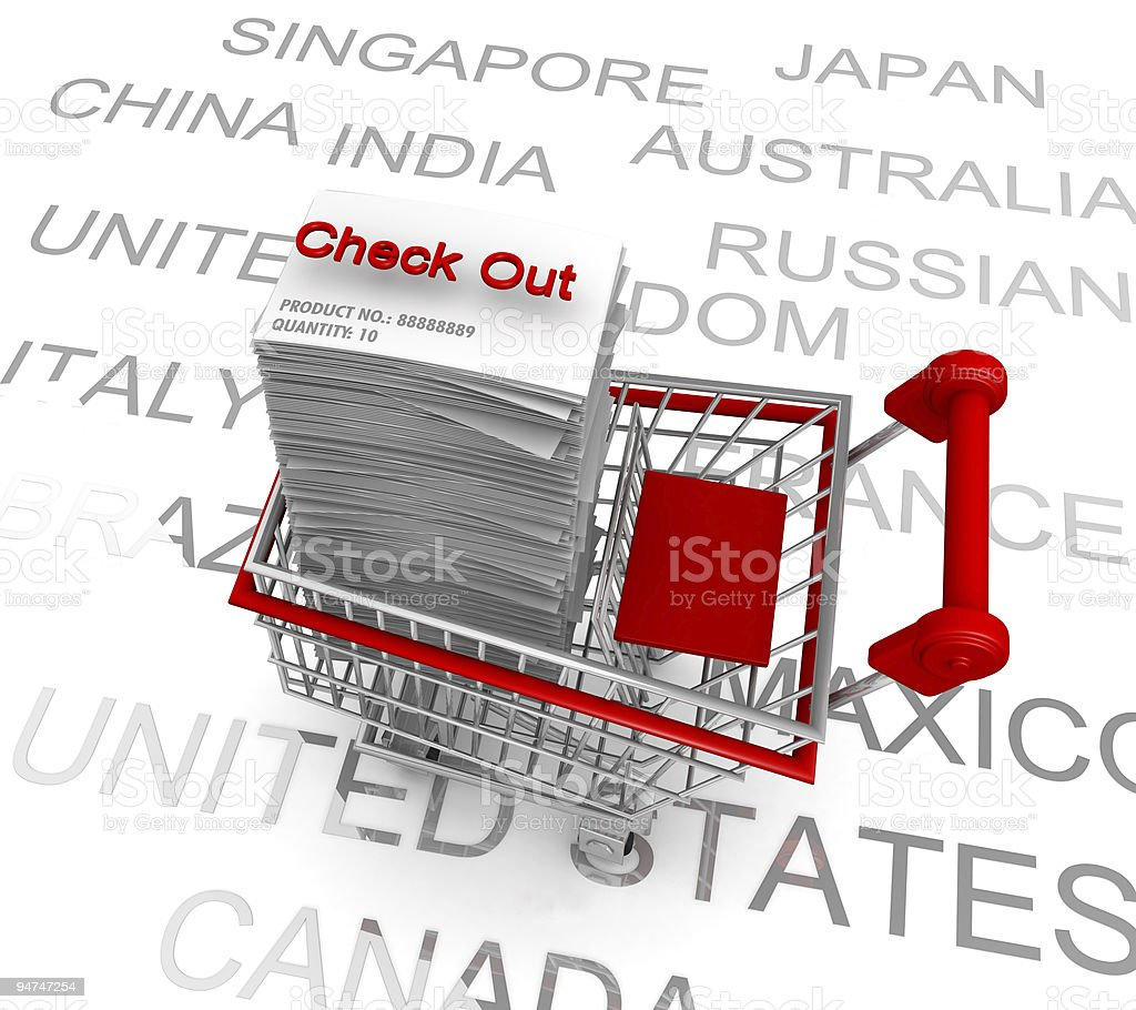 Ecommerce concept shopping cart to check out royalty-free stock photo