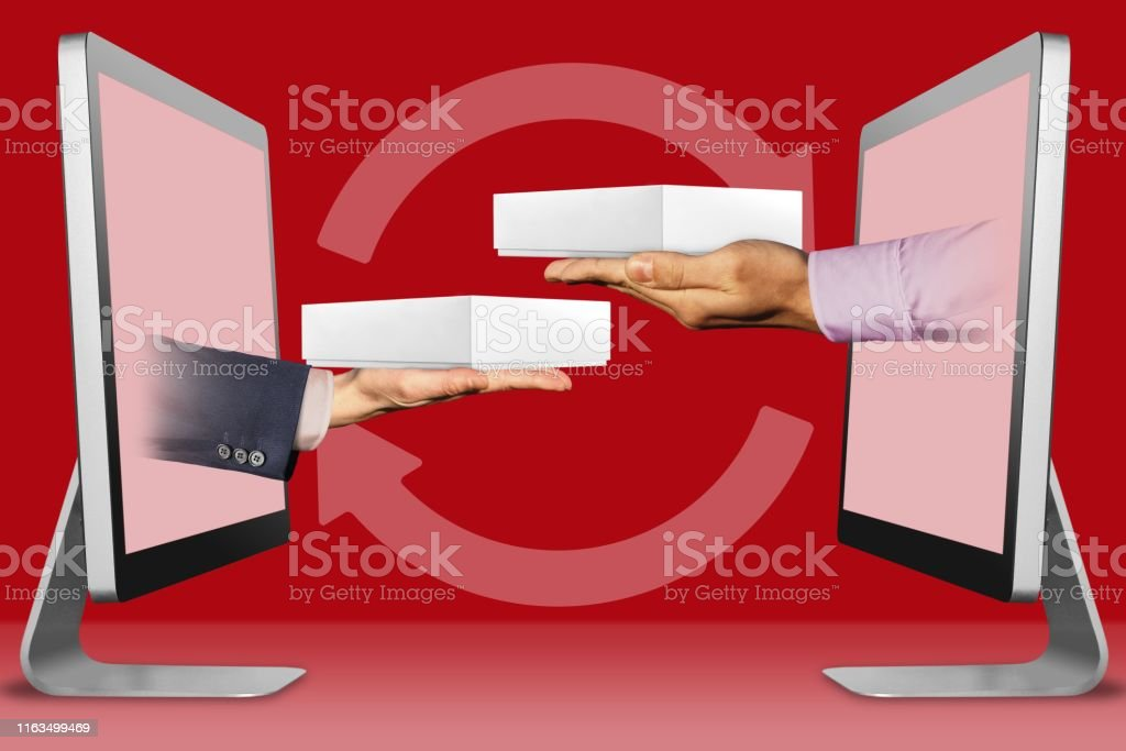 commerce concept, hands from monitors. hand with white tablet...