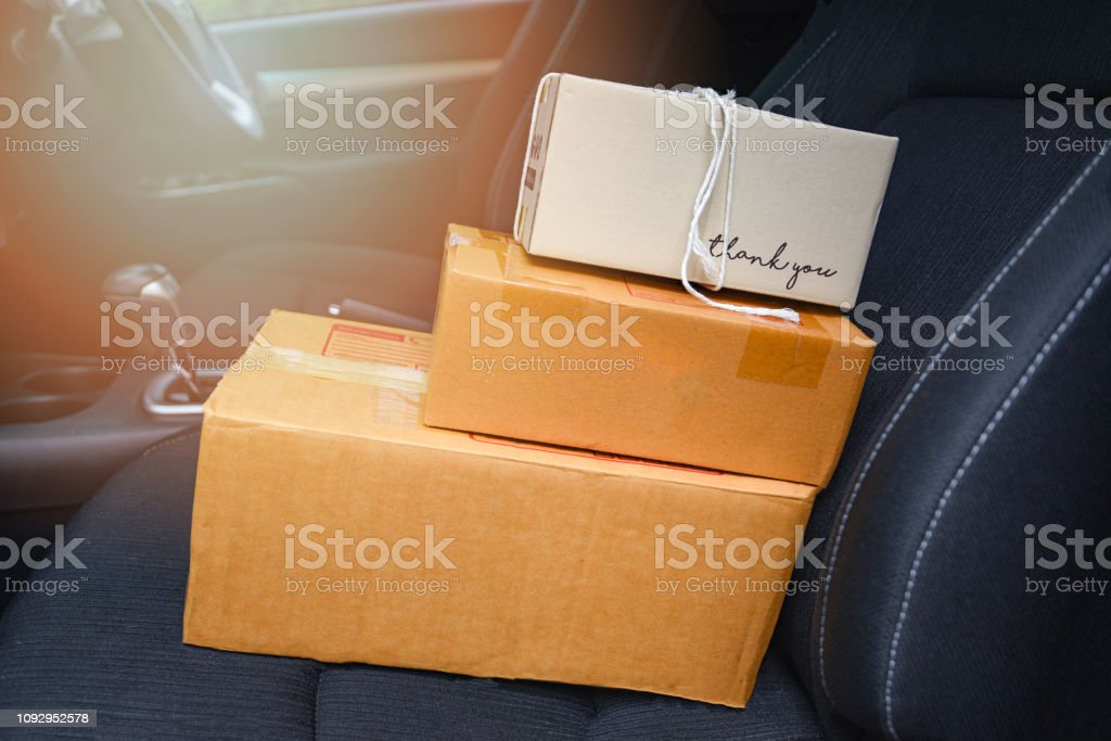 ecommerce delivery parcels shopping online and order concept -...