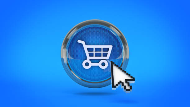 e-commerce glänzende symbol auto mit maus cursort einkaufen. 3d rendering - klavier verkaufen stock-fotos und bilder