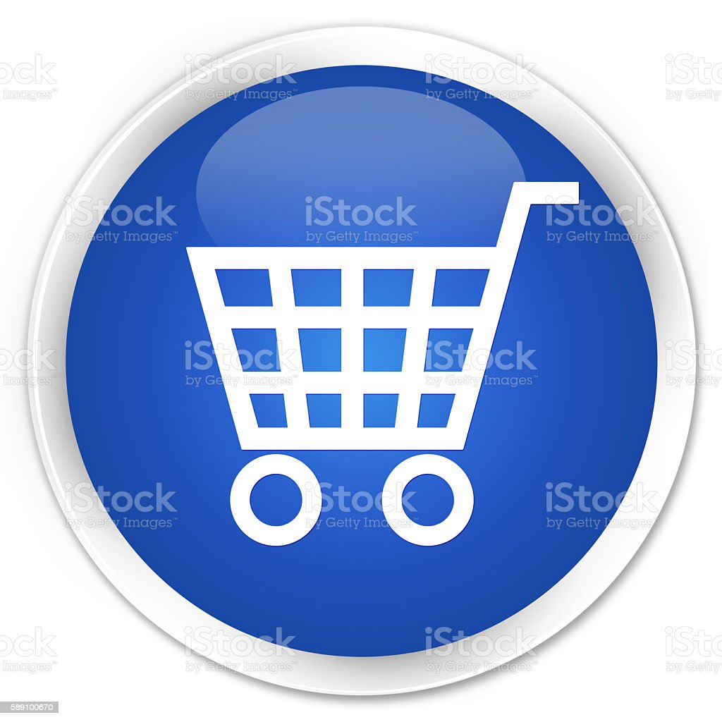 Ecommerce icon blue glossy round button stock photo