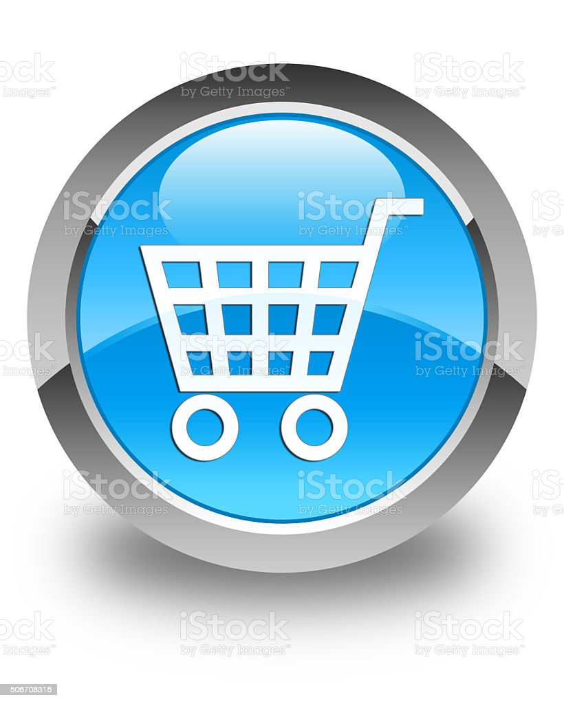 Ecommerce icon glossy cyan blue round button stock photo