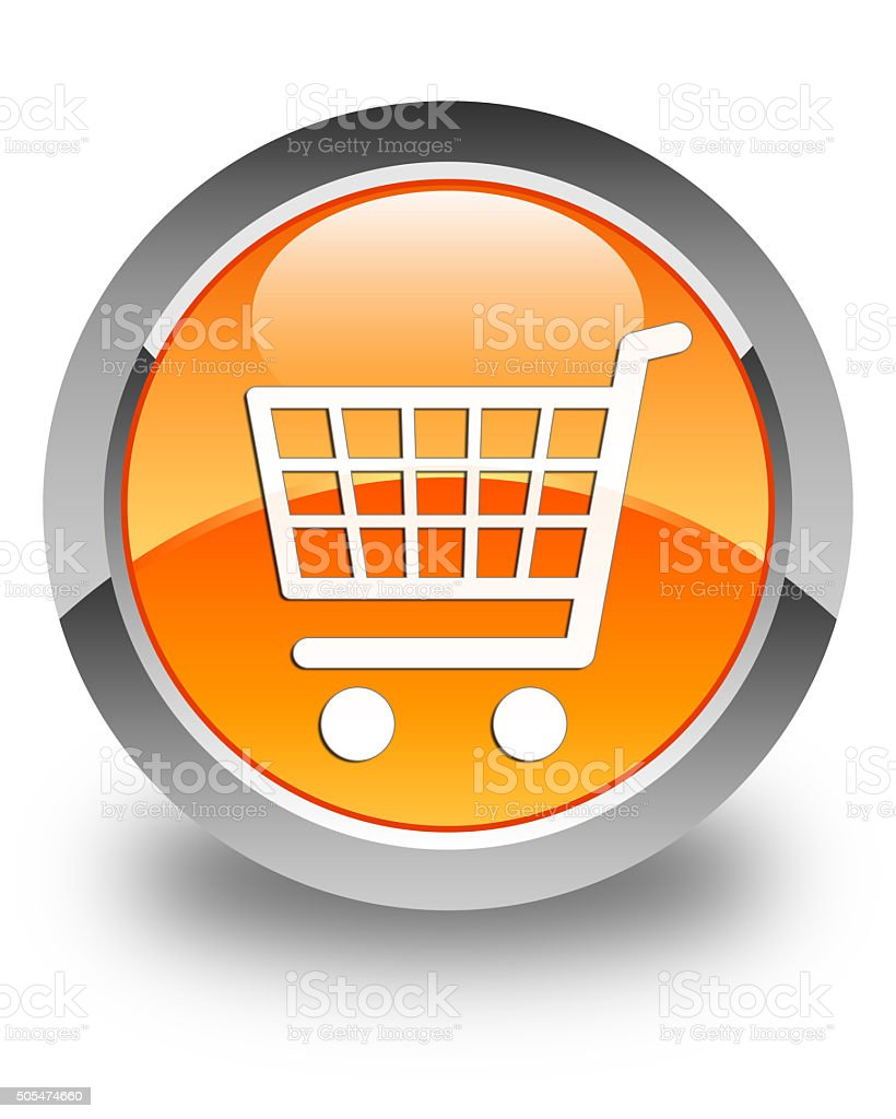 Ecommerce icon glossy orange round button 2 stock photo
