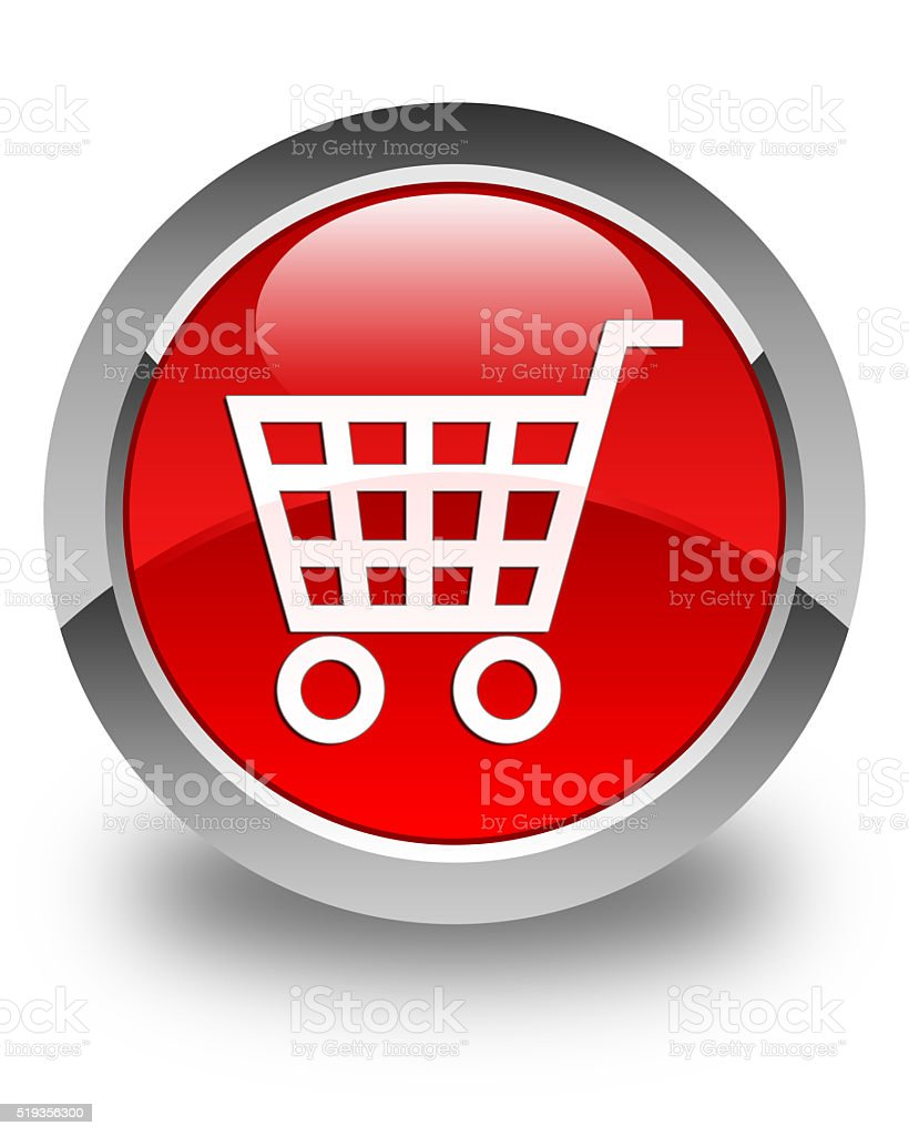 Ecommerce icon glossy red round button stock photo