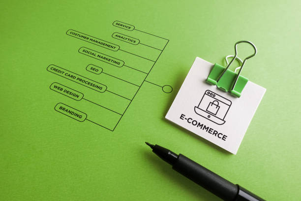 E-Commerce - icon with keywords stock photo