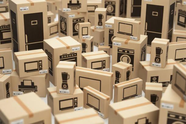 e-commerce, internet zakupy online i koncepcja dostawy. sprzęt agd i technika domowa w pudełkach. - przemysł elektroniczny zdjęcia i obrazy z banku zdjęć