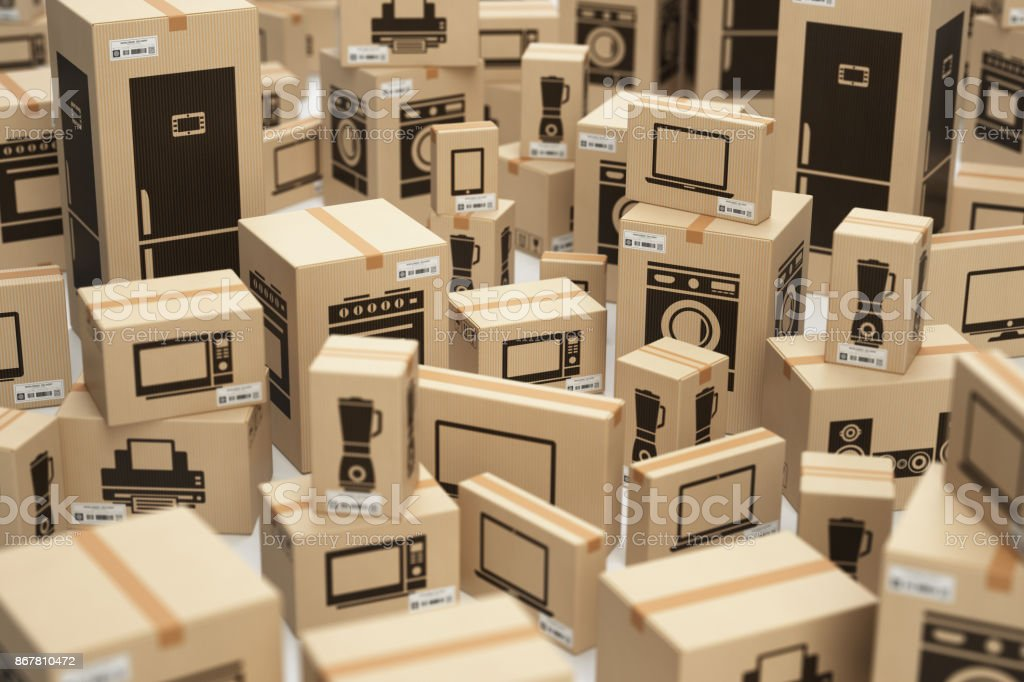 E-commerce, internet online shopping and delivery concept. Household kitchen appliances and home technics in boxes. stock photo