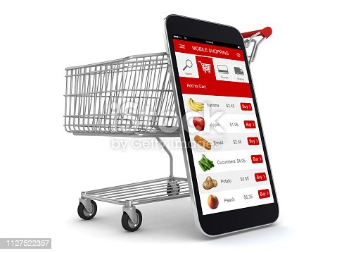 E-commerce internet shopping cart mobile phone app online supermarket