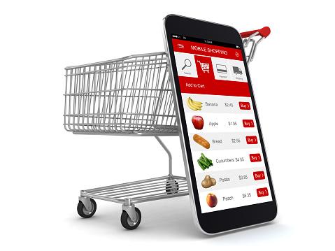 E-commerce internet shopping cart mobile phone app online supermarket