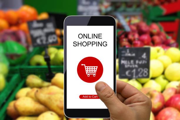 Gamme de supermarché app téléphone mobile site e-commerce internet shopping cart - Photo