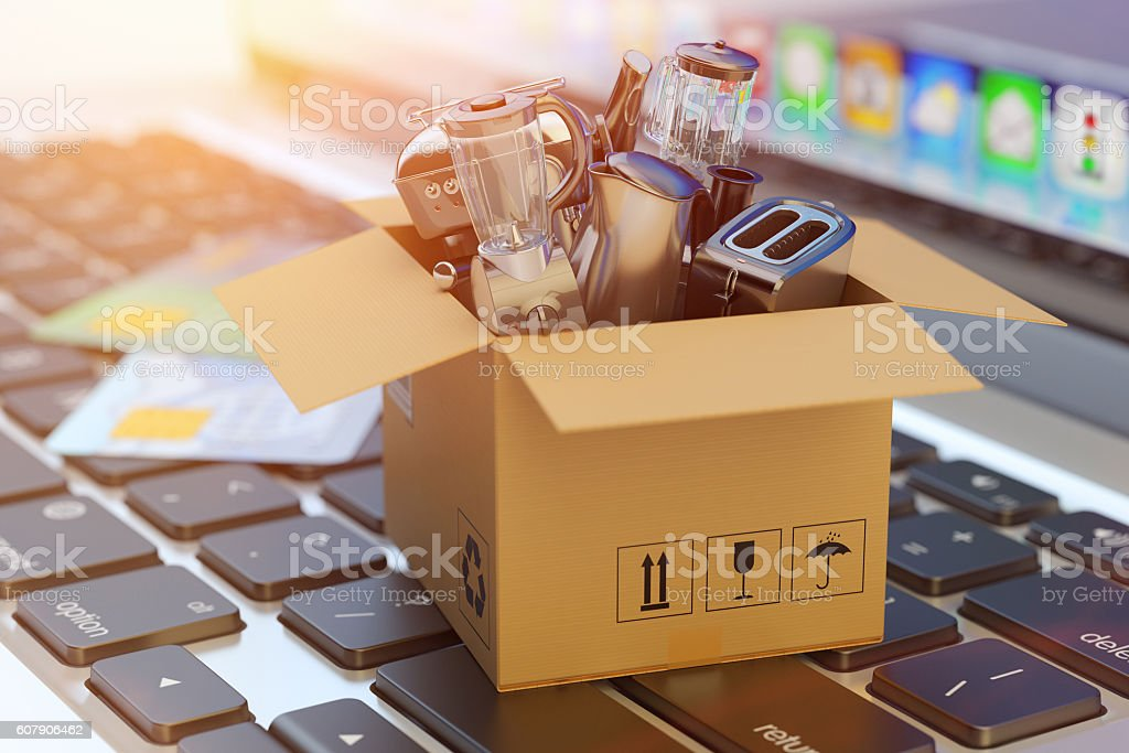 E-commerce, online shopping, internet purchases and goods delivery concept stock photo