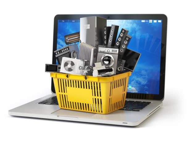 e-commerce online-shopping oder lieferung konzept. home-appliance im warenkorb auf der laptoptastatur isoliert auf weiss. 3d - freizeitelektronik stock-fotos und bilder