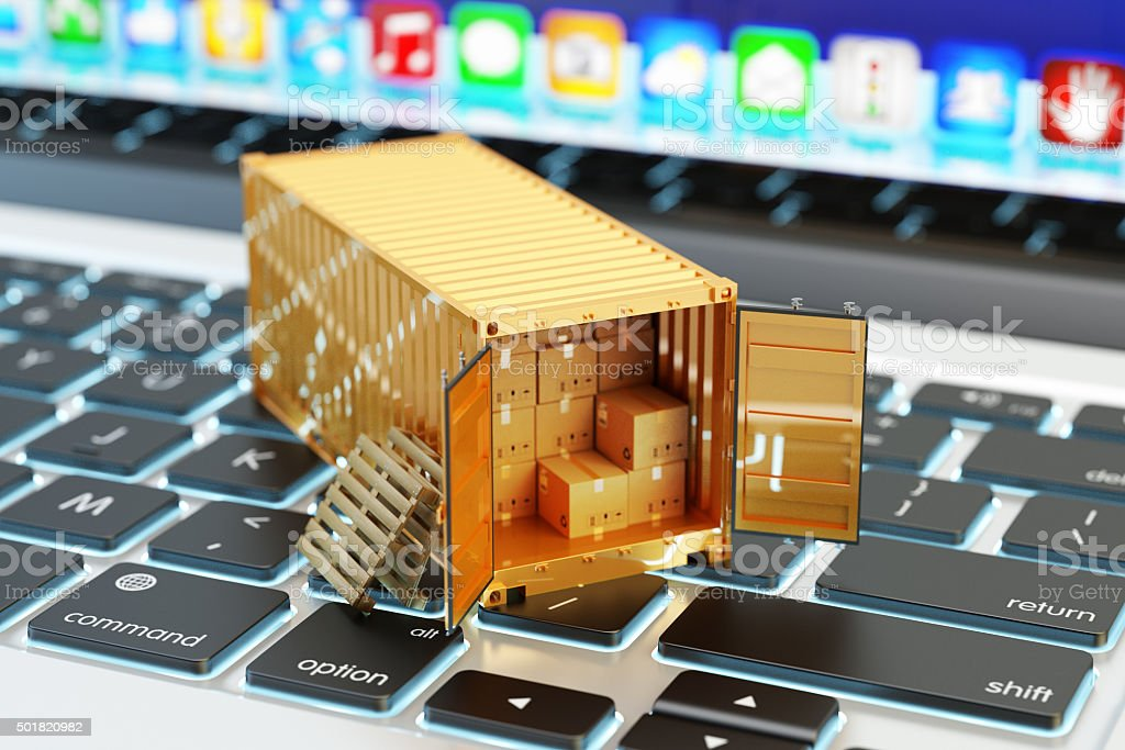E-commerce, packages delivery, shipping service and freight transportation concept stock photo
