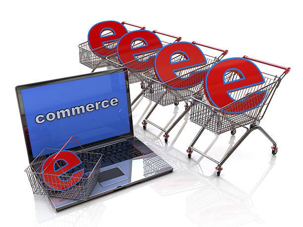e-commerce. einkaufswagen mit zeichen des elektronischen geschäftsverkehrs - klavier verkaufen stock-fotos und bilder