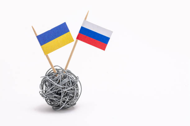 ウクライナとロシアの経済・政治紛争 ストックフォト