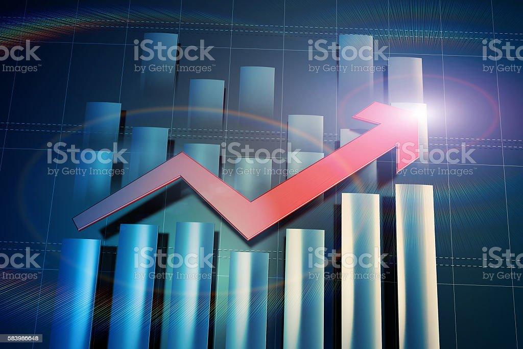 Economic arrow and histogram stock photo