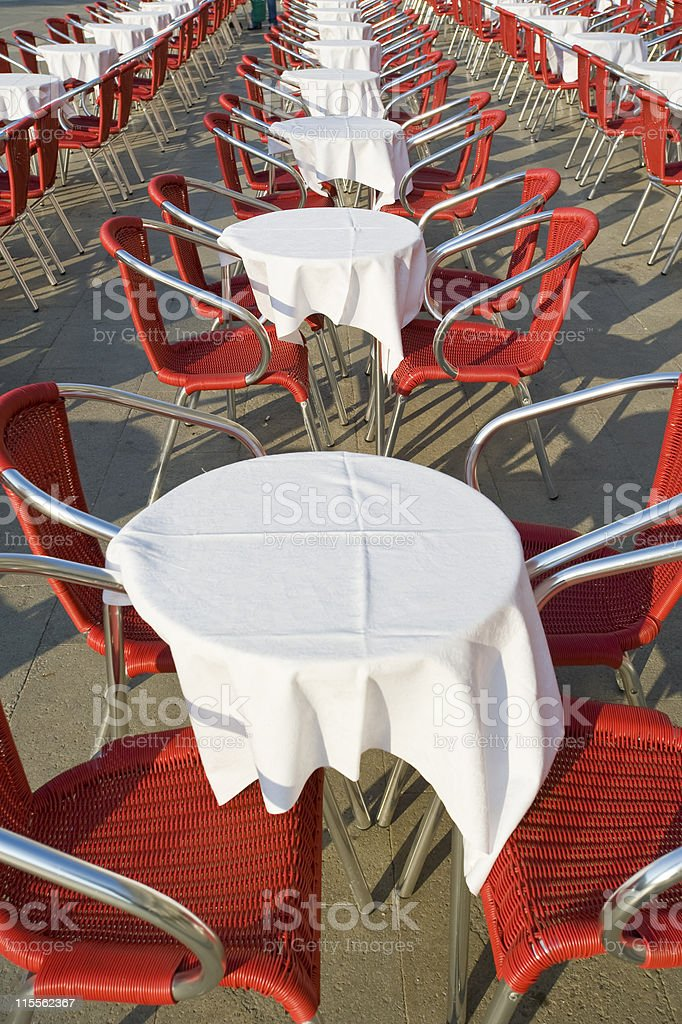Economic crises: empty tables at St. Mark´s Square, Venice royalty-free stock photo